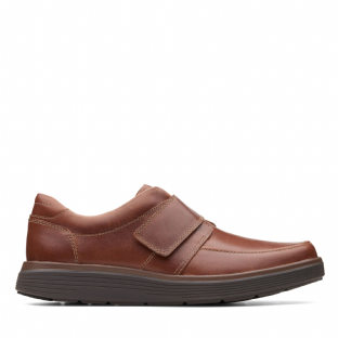 Clarks Mens Un Abode Strap Dark Tan Leather Shoes